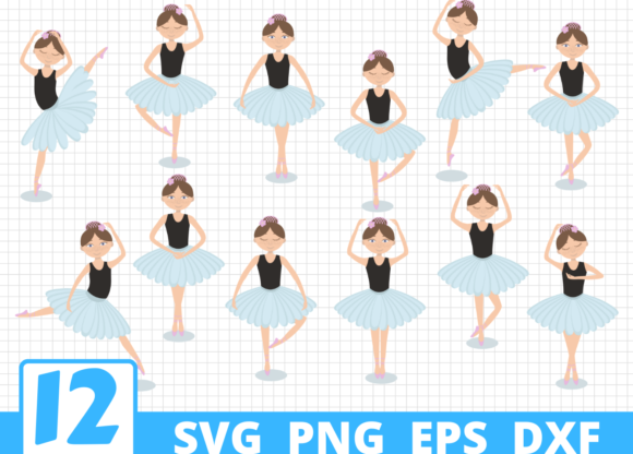 Print on Demand: 12 Ballerina Desings Bundle Graphic Crafts By SvgOcean