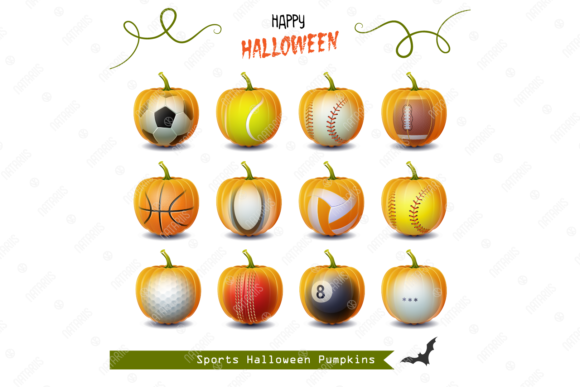 12 Halloween Sports Pumpkins Graphic Objects By Natariis Studio