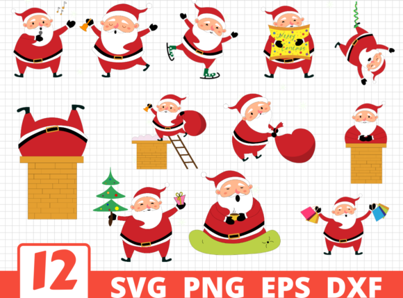 12 Santa Designs Bundle Graphic Crafts By SvgOcean