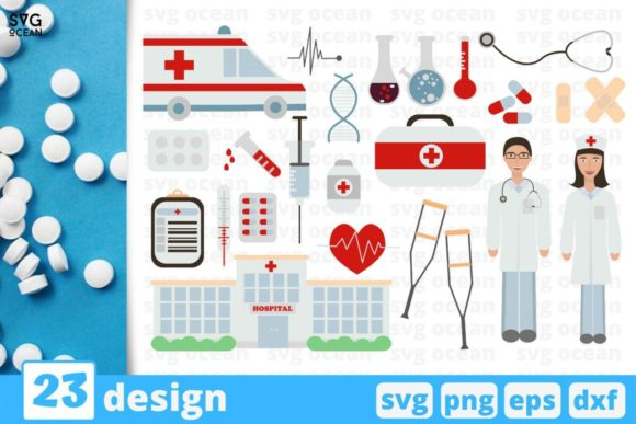 Print on Demand: 23 Medical Designs Bundle Graphic Crafts By SvgOcean