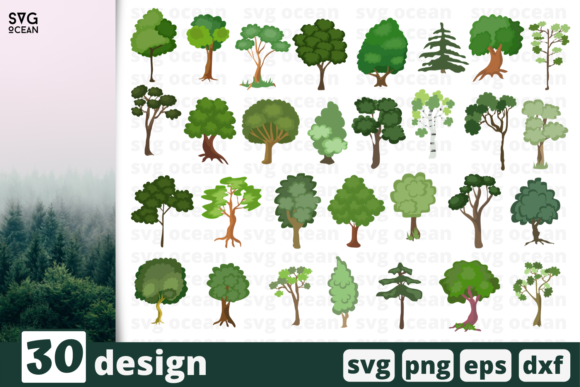 Print on Demand: 30 Trees Desings Bundle Graphic Crafts By SvgOcean