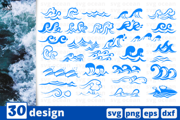 Print on Demand: 30 Wave Desings Bundle Graphic Crafts By SvgOcean
