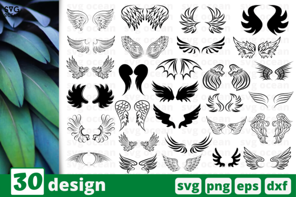 Print on Demand: 30 Wings Desings Bundle Graphic Crafts By SvgOcean