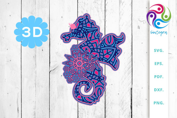 Print on Demand: 3D Layered Sea Horse Cut File Graphic 3D SVG By Sintegra - Image 1