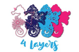Print on Demand: 3D Layered Sea Horse Cut File Graphic 3D SVG By Sintegra 2
