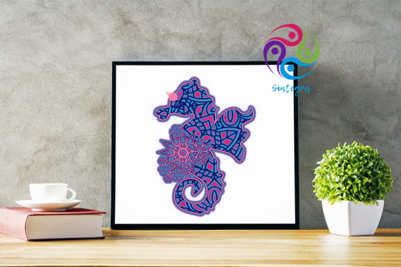 Print on Demand: 3D Layered Sea Horse Cut File Graphic 3D SVG By Sintegra - Image 3
