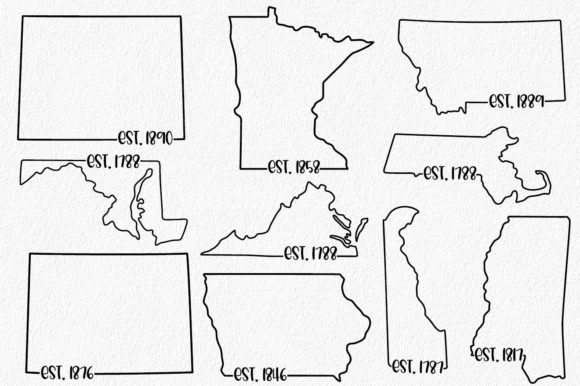 Print on Demand: 50 States Bundle - Date Established Graphic Crafts By oldmarketdesigns - Image 2