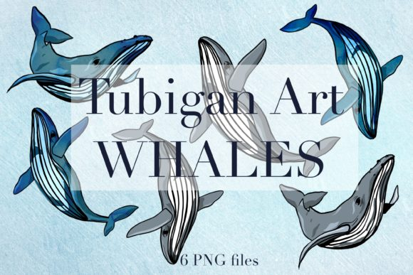 Print on Demand: 6 Watercolor Whales Graphic Illustrations By Tubiganart