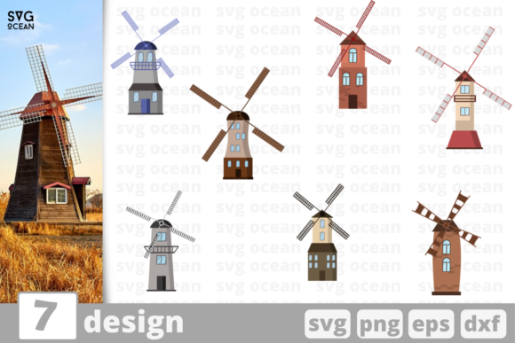 Print on Demand: 7 Windmill  Desings Bundle Graphic Crafts By SvgOcean
