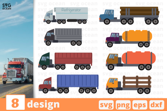 Print on Demand: 8 Truck Desings Bundle Graphic Crafts By SvgOcean