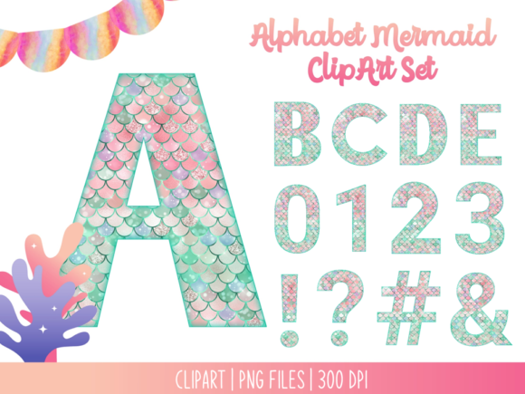 Alphabet Mermaid ClipArt Set Graphic Illustrations By Miss Cherry Designs
