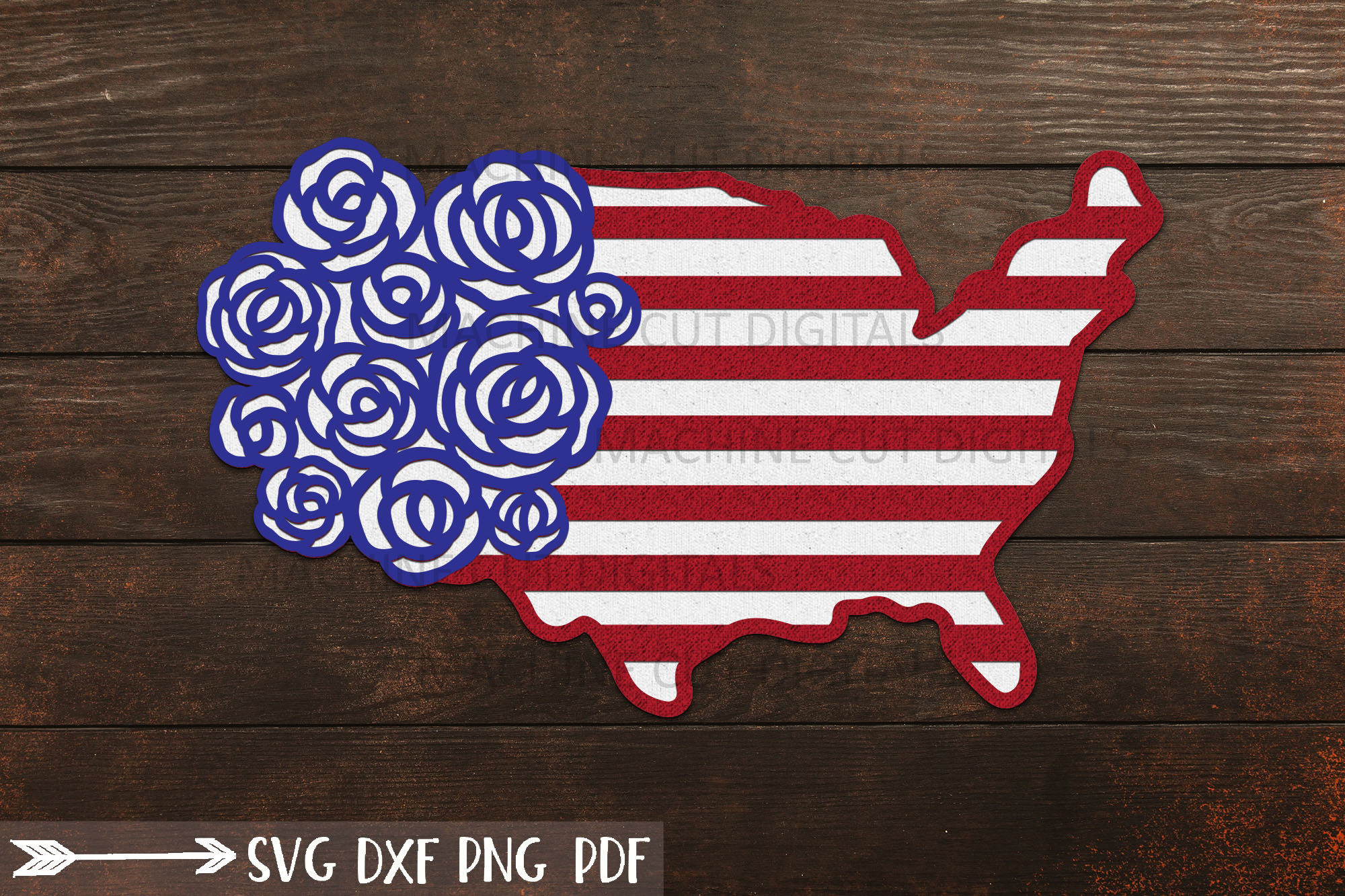 American USA Map with Roses 4th July SVG File