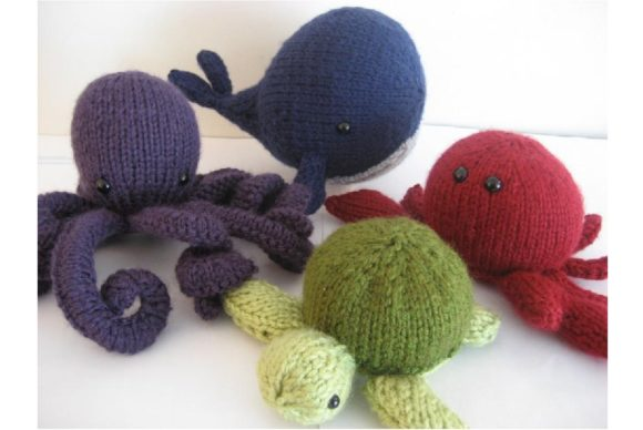 Amigurumi Knit Sea Creatures Pattern Set Grafik Knitting Patterns von Amy Gaines Amigurumi Patterns