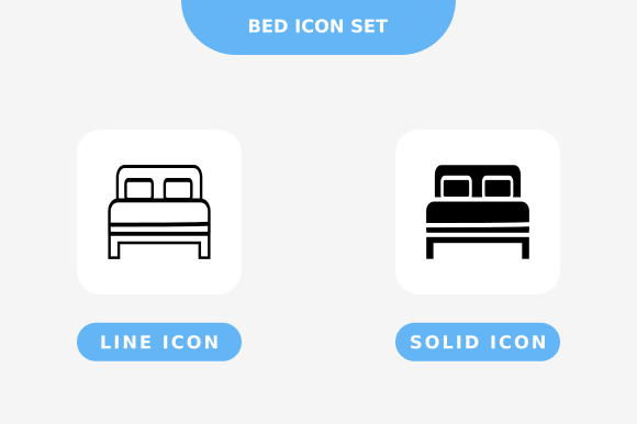 Print on Demand: Bed Icon Set, Line and Solid Style Graphic Icons By nunungpardana
