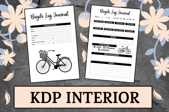 Print on Demand: Bicycle Log Journal | KDP Interior Graphic KDP Interiors By KDP Mastermind