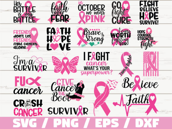 Cancer Awareness Quotes Bundle  Graphic Print Templates By ZecWorkshop
