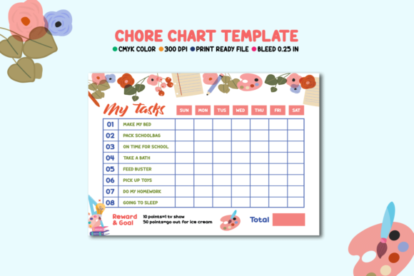 Print on Demand: Chore Chart Template Graphic Print Templates By sistecbd