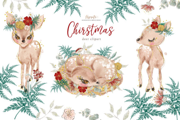 ChristmasAnimals Clipart Graphic Illustrations By Hippogifts - Image 1