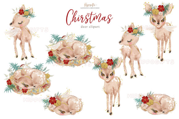 ChristmasAnimals Clipart Graphic Illustrations By Hippogifts - Image 2