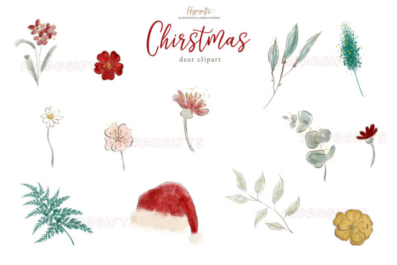 ChristmasAnimals Clipart Graphic Illustrations By Hippogifts - Image 3