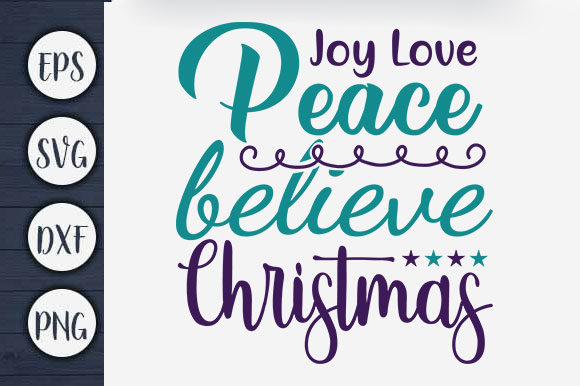 Print on Demand: Christmas T-shirt Design, Joy Love Quote Graphic Print Templates By CreativeArt