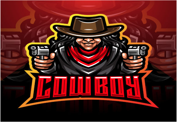 Cowboy Esport Mascot Logo Design Graphic Illustrations By visink.art