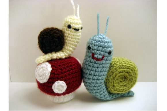 Crochet Snails and Mushrooms Pattern Set Graphic Crochet Patterns By Amy Gaines Amigurumi Patterns