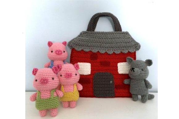 Crochet Three Little Pigs Playset Patter Graphic Crochet Patterns By Amy Gaines Amigurumi Patterns - Image 1