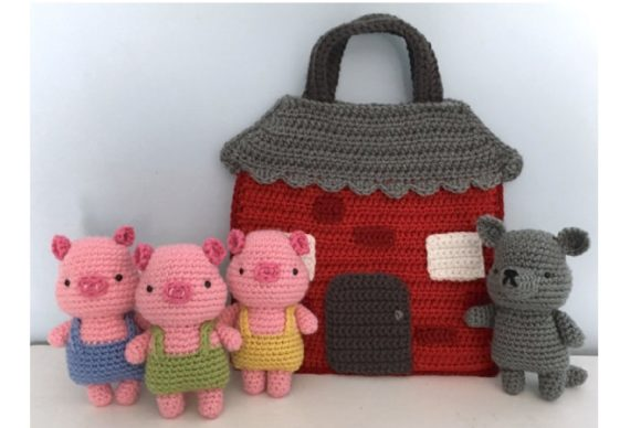 Crochet Three Little Pigs Playset Patter Graphic Crochet Patterns By Amy Gaines Amigurumi Patterns - Image 2