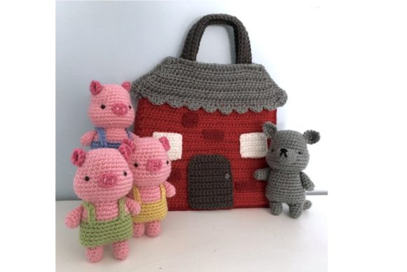 Crochet Three Little Pigs Playset Patter Graphic Crochet Patterns By Amy Gaines Amigurumi Patterns - Image 4