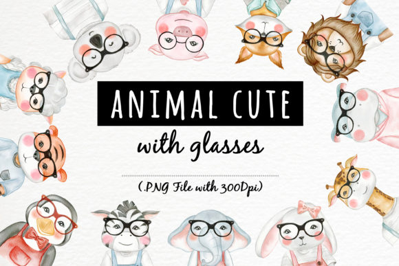 Print on Demand: Cute Animal with Glasses Watercolor Graphic Illustrations By OrchidArt