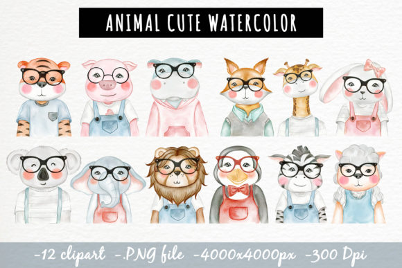 Print on Demand: Cute Animal with Glasses Watercolor Graphic Illustrations By OrchidArt - Image 2