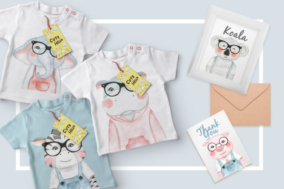 Print on Demand: Cute Animal with Glasses Watercolor Graphic Illustrations By OrchidArt - Image 3