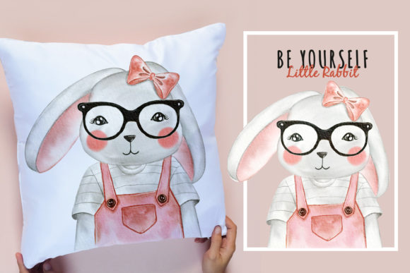 Print on Demand: Cute Animal with Glasses Watercolor Graphic Illustrations By OrchidArt - Image 4