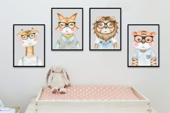 Print on Demand: Cute Animal with Glasses Watercolor Graphic Illustrations By OrchidArt - Image 5