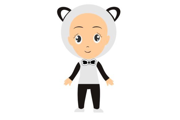 Cute Kid with a Panda Costume Graphic Illustrations By harunikaart