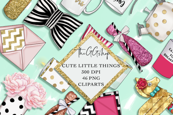 Print on Demand: Cute Little Things Planner Girl Cliparts Grafik Illustrationen von TheGGShop
