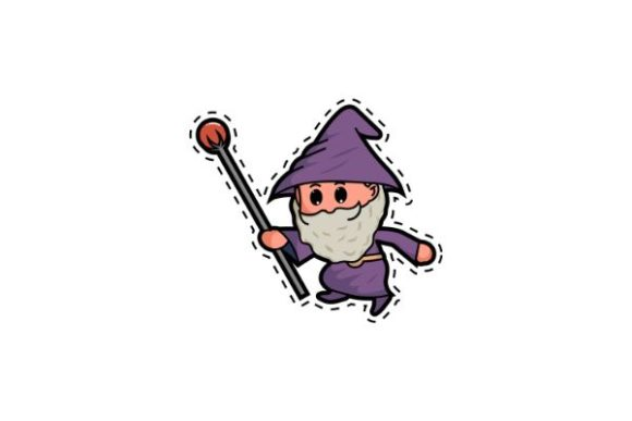 Print on Demand: Cute Wizard and the Magic Staff Stickers Graphic Illustrations By firdausm601