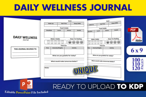 Daily Wellness Journal KDP Interior   Graphic KDP Interiors By Beast Designer