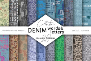 Denim with Words, Letters and Numbers Graphic Patterns By digitalEye