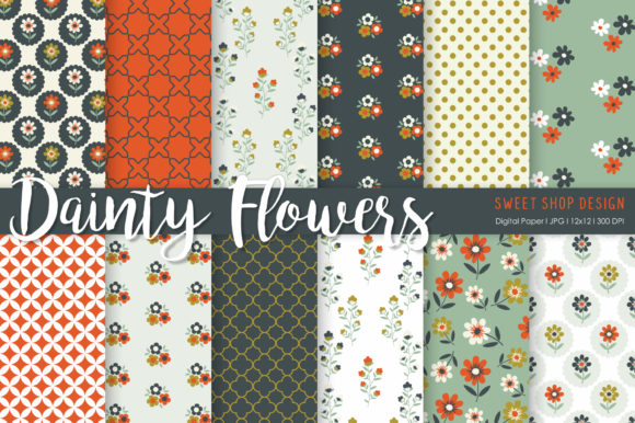 Digital Paper Dainty Flowers Graphic Patterns By Sweet Shop Design