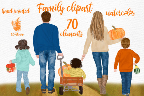 Family Clipart Autumn   Graphic Illustrations By LeCoqDesign