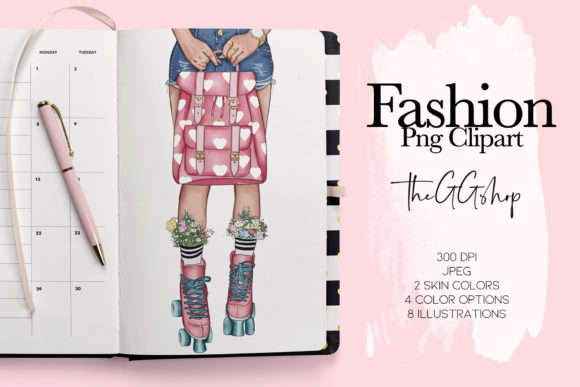 Print on Demand: Fashion Clipart Set Planner Insert Graphic Illustrations By TheGGShop - Image 1