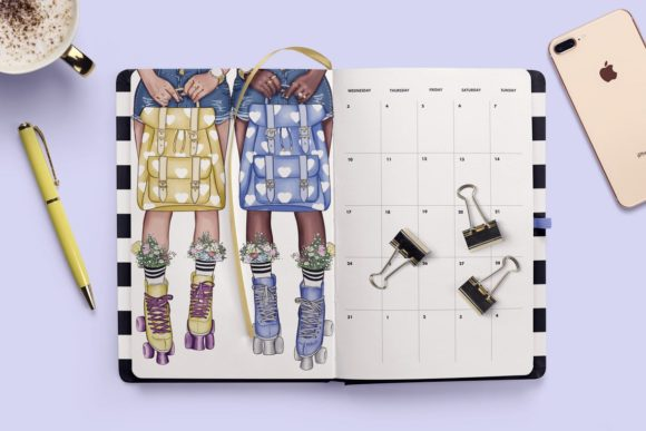 Print on Demand: Fashion Clipart Set Planner Insert Graphic Illustrations By TheGGShop - Image 4