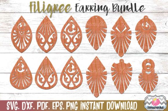 Filigree Earring Template Bundle Graphic Patterns By Timetocraftshop