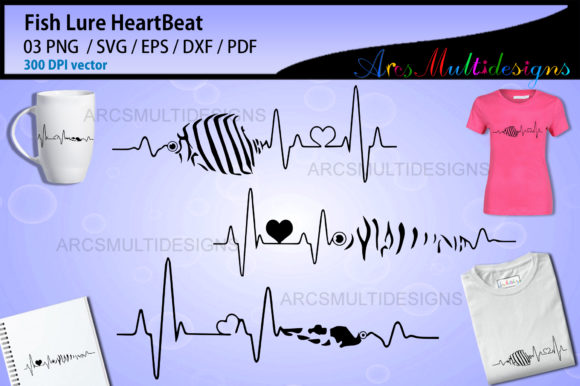 Print on Demand: Fishing Lure Heartbeat Graphic Illustrations By Arcs Multidesigns