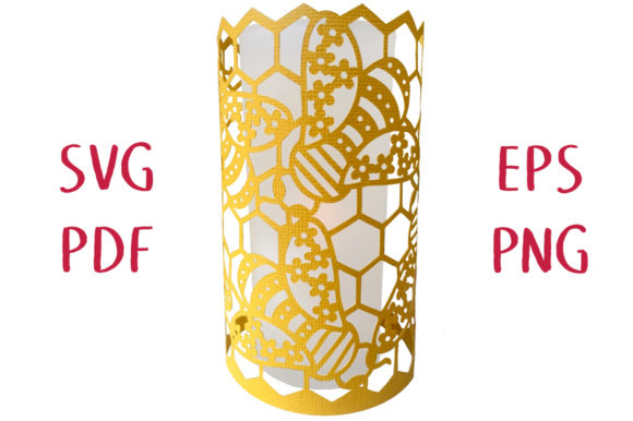 Print on Demand: Floral Bees Honeycomb Lantern Graphic 3D SVG By Nic Squirrell - Image 1