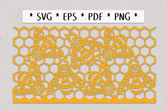 Print on Demand: Floral Bees Honeycomb Lantern Graphic 3D SVG By Nic Squirrell - Image 2