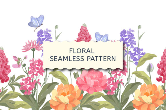 Floral Border. Spring Flowers  Graphic Patterns By kazakova_o