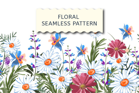 Floral Seamless Border with Marigold Graphic Patterns By kazakova_o